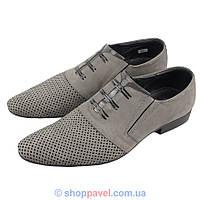 Туфли мужские Tapi 4107/216  серого цвета нубук
