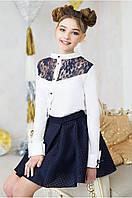 Эффектная школьная Блузка, вставка синий гипюр Рост 128-152