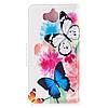 Чехол книжка для Huawei Y5 2017 боковой с отсеком для визиток, Яркие бабочки, фото 3