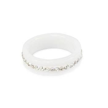 Кольцо керамическое с фианитами по кругу белое Арт. RN006CR (16)