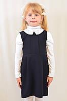 Детский школьный сарафан с белым воротничком черный и синий.