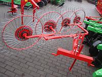 Грабли-ворошилки 4-х колёсные Agromech на круглой трубе (Украина-Польша, спица оцинкованная, Ø5 мм)