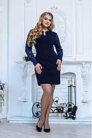 Ажерное синее платье футляр
