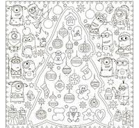 Обои - раскраски / раскраска / детское творчество Новогодняя Елка с Миньонами 60х60см