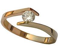 Золотое кольцо с накладкой с бриллиантом