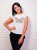 Женская футболка с золотистым принтом бабочка p.42-48 VM2003-3