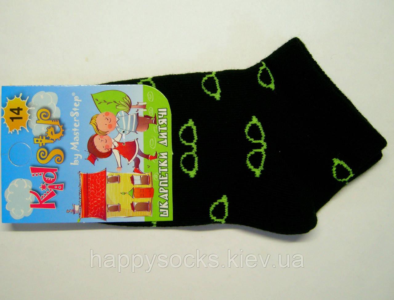 Детские летние носки черного цвета в салатовые очки