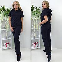 Женский спортивный костюм большого размера:футболка (на спине молния) с капюшоном и прямые брюки, черный