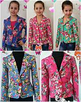 Коттоновый пиджак для девочки №597 (р.122-140)