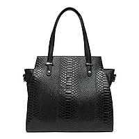 Женская  сумка из натуральной кожи фабричная (отшита  в Италии) черного цвета, на две ручки