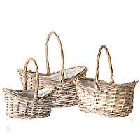 Набор декоративных плетеных корзин. 3шт.