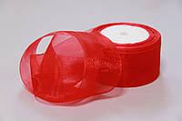 Красная лента из органзы для вышивки и декора 5 см. Пометрово.