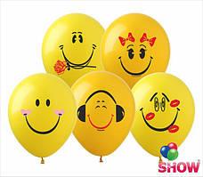 """Воздушные шары Смайлики группа-3 12""""(30 см) пастель желтая В упак: 100штук Пр-во:ТМ""""Show"""""""