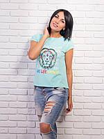 Яркая женская футболка хлопок p.42-48 VM1997-3