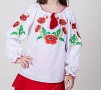 Детская блуза с вышивкой гладью на поплине