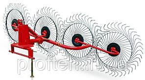 Грабли-ворошилки 4-х колёсные Wirax на круглой трубе (Польша, спица оцинкованная)