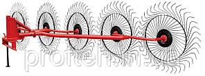 Грабли-ворошилки 5-ти колёсные Wirax на круглой трубе (Польша, спица оцинкованная, Ø5 мм)
