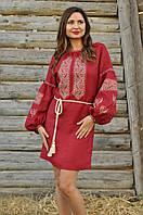 Подольское вышитое платье с нежным геометрическим узором (П15-261), фото 1