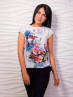 Красивая яркая женская блуза с принтом p.42-48 VM2004-1