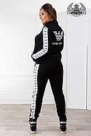 Женский спортивный костюм большого размера:кофта на спине и брюки по бокам с накатанным принтом, черный