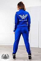 Женский спортивный костюм большого размера:кофта на спине и брюки по бокам с накатанным принтом, голубой