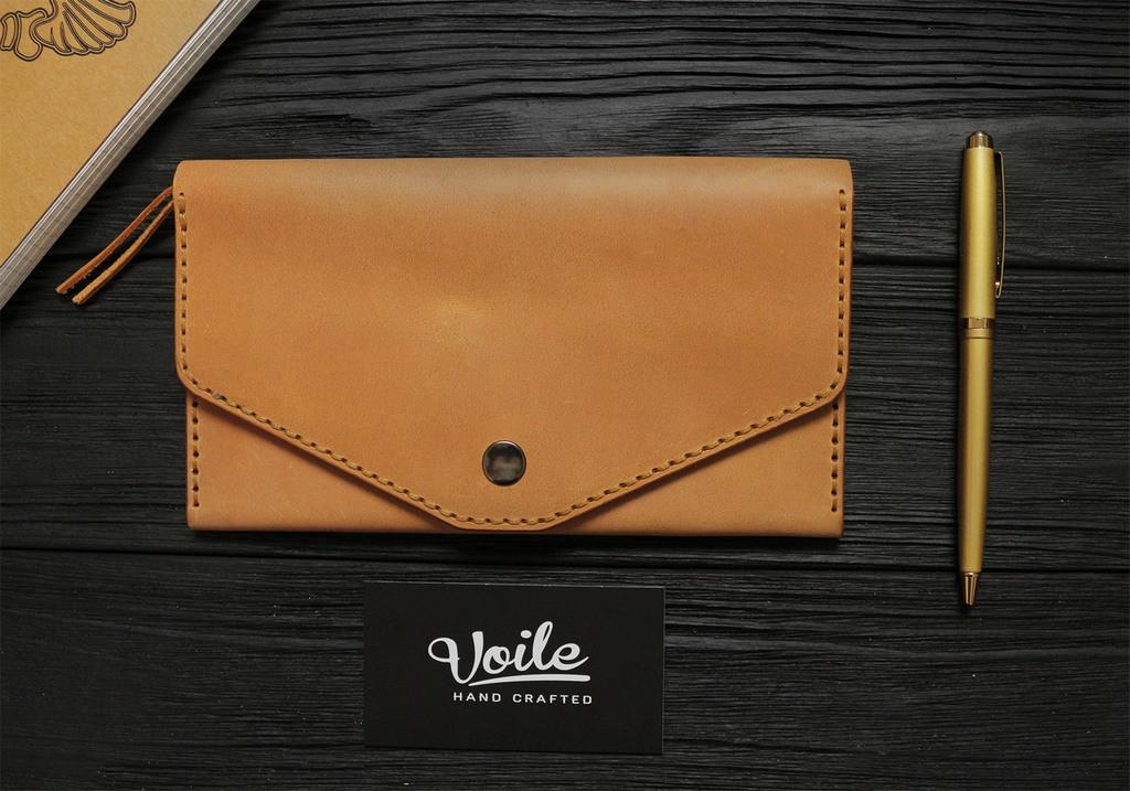Женский кожаный кошелек ручной работы VOILE vl-lw2w-ryz-tbc