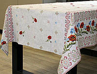 Ткань для скатерти рогожка Маки
