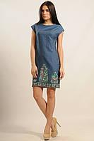 Джинсовое Платье Фортуна-Джинс цветная вышивка Ри Мари