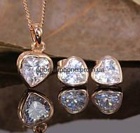 Комплект в романтичном дизайне с милыми австрийскими кристаллами, покрытый золотом (601980)