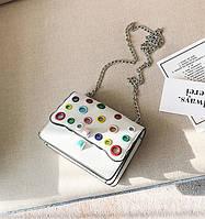 Стильная женская сумка на плечо FENDI Kan I белого цвета с разноцветными вставками