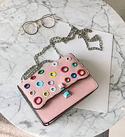 Стильная женская сумка на плечо FENDI Kan I розового цвета с разноцветными вставками