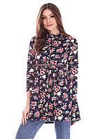 Рубашка длинная женская черная в цветок