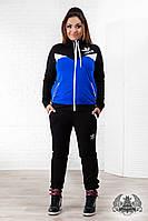 """Женский спортивный костюм батал """"adidas"""":кофта комбинированная - электрик+белый+черный"""