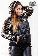 Зимний женский костюм на флисе, большого размера, с леопардовыми вставками по бокам