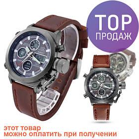 Мужские наручные часы AMST кварцевые, коричневые / Классические мужские часы, кварц, ХИТ ПРОДАЖ