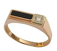 Золотое мужское кольцо с двумя камнями