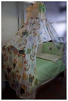 Комплект с балдахином  в детскую кроватку Игрушка.