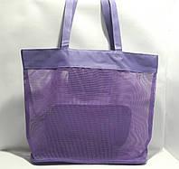Пляжная прозрачная летняя сумка для пляжа и прогулок сиреневая