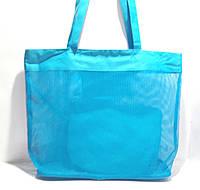 Пляжная прозрачная летняя сумка для пляжа и прогулок голубая