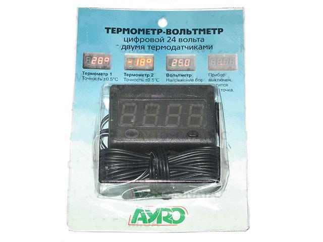 Термометр-вольтметр 24V (2 датчика)