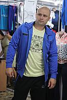 Спортивная трикотажная кофта Турция, Соккер, синяя, с капюшоном.