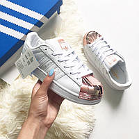 Женские кроссовки Adidas Superstar White/Copper Metallic