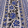 Вафельна тканина українським орнаментом з блакитними трояндами, ширина 40 см