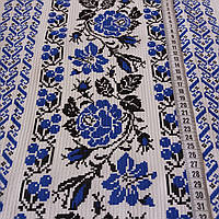 Вафельна тканина українським орнаментом з блакитними трояндами, ширина 40 см, фото 1