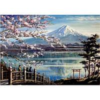 Алмазная вышивка Сакура на берегу горного озера