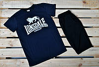 Летний комплект Lonsdale / т.синяя футболка/ черные шорты