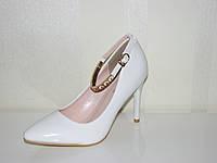 Свадебные белые туфли для невесты нарядные на шпильке 35 -40