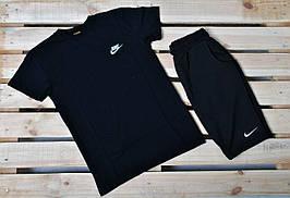 Летний комплект Nike / черная футболка/ черные шорты