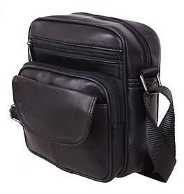 Кожаная сумка мужская через плечо барсетка из кожи с клапаном черная кожа 18х16 s11014 Black Польша