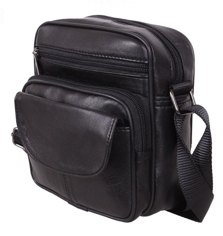 1c5813c93db7 Кожаная сумка мужская через плечо барсетка SW11014 черная 18х16х8см -  Интернет-магазин